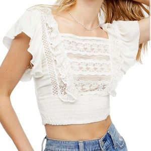 Ivory lace and ruffle sleeved top by Free People